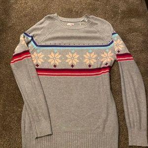 Grey argyle winter sweater